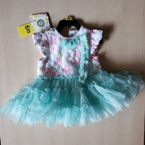 Teal Floral Tutu Dress NWT 6 months